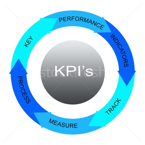 Stockfoto: Blauw · woord · cirkels · groot · sleutel · prestaties