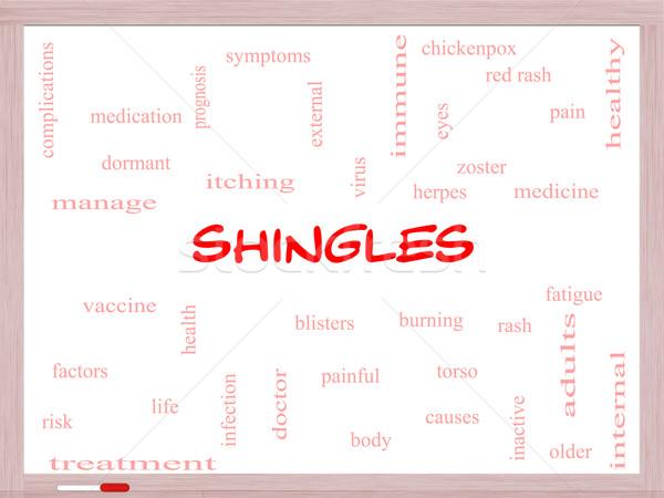 Shingles Word Cloud Concept on a Whiteboard Stock photo © mybaitshop