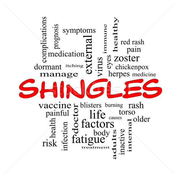 Shingles Word Cloud Concept in red caps Stock photo © mybaitshop