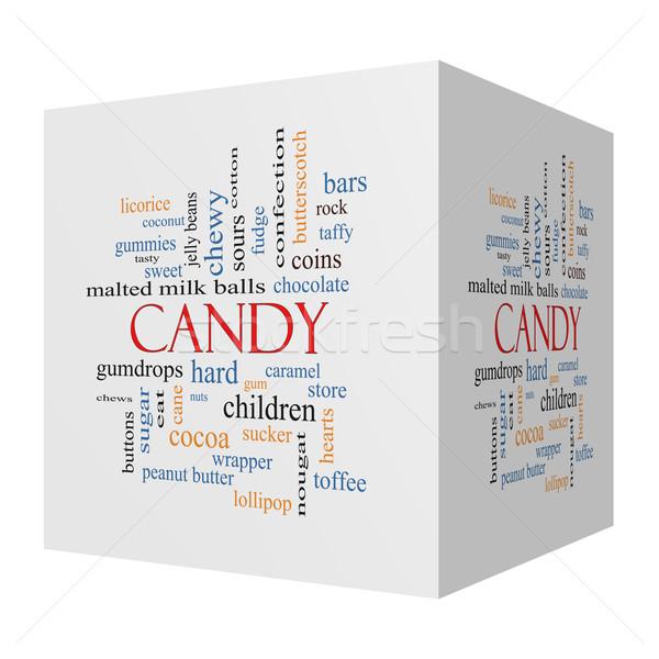 Foto d'archivio: Candy · 3D · cubo · word · cloud · dolce