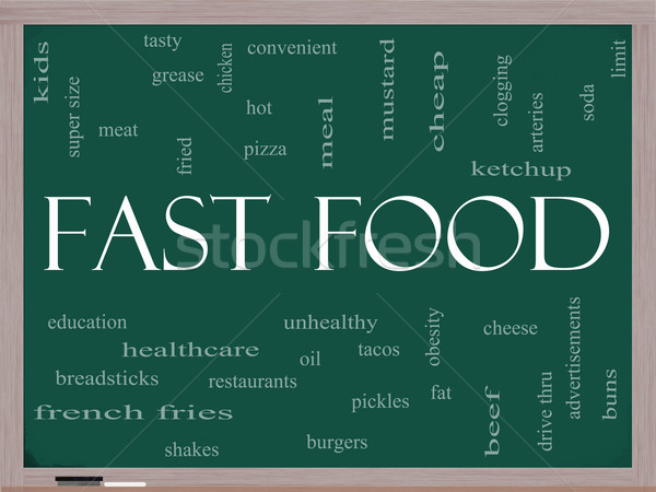 Fast Food Word Cloud Concept on a Blackboard Stock photo © mybaitshop