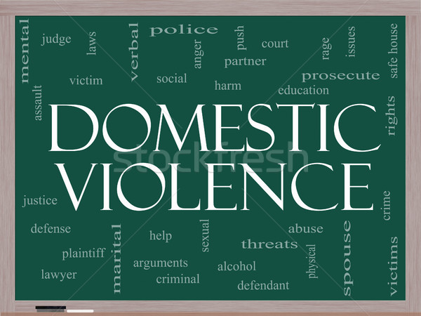 Domestic Violence Word Cloud Concept on a Blackboard Stock photo © mybaitshop