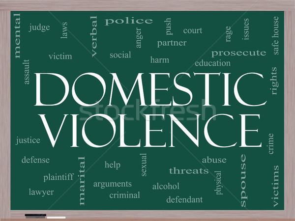 Violenza domestica word cloud lavagna vittima Foto d'archivio © mybaitshop