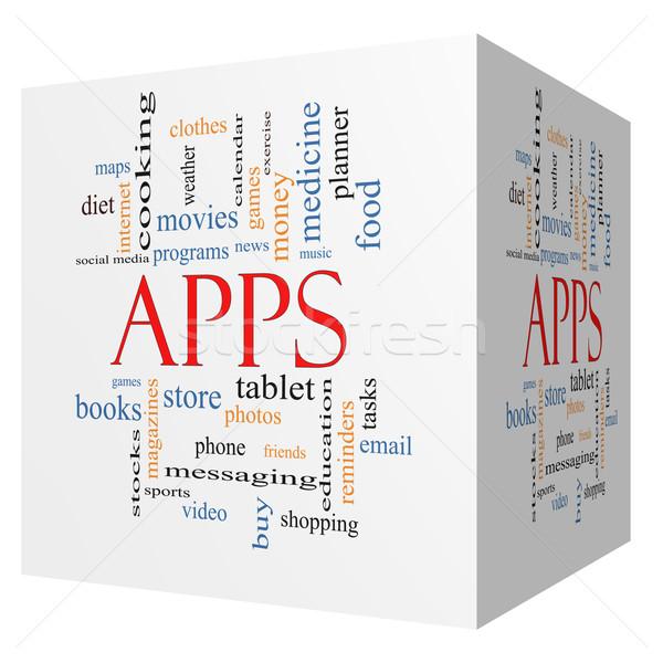 Apps 3D Cube Word Cloud Concept Stock photo © mybaitshop