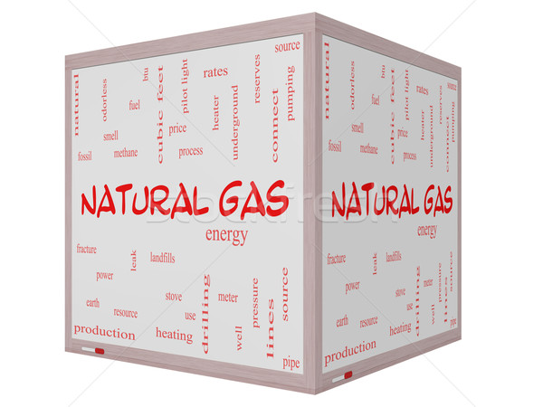 Stock photo: Natural Gas Word Cloud Concept on a 3D cube Whiteboard