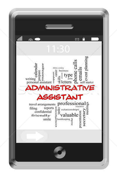 Administrative Assistant Word Cloud Concept on Touchscreen Phone Stock photo © mybaitshop