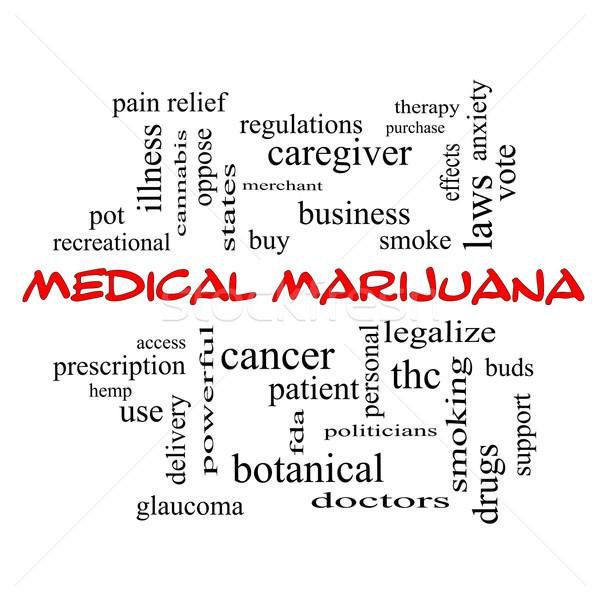 Medical Marijuana Word Cloud Concept in red caps Stock photo © mybaitshop