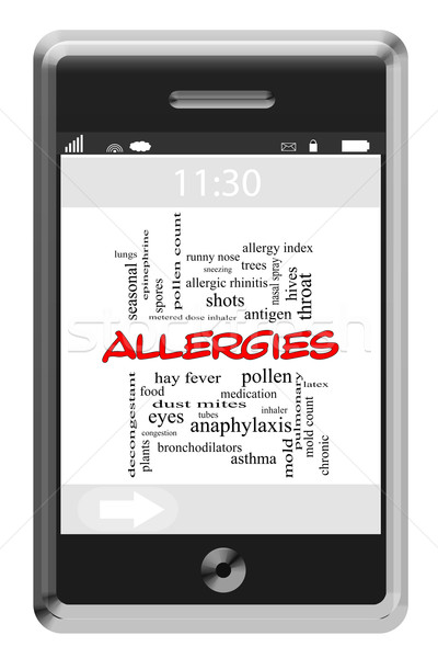Allergies Word Cloud Concept on Touchscreen Phone Stock photo © mybaitshop