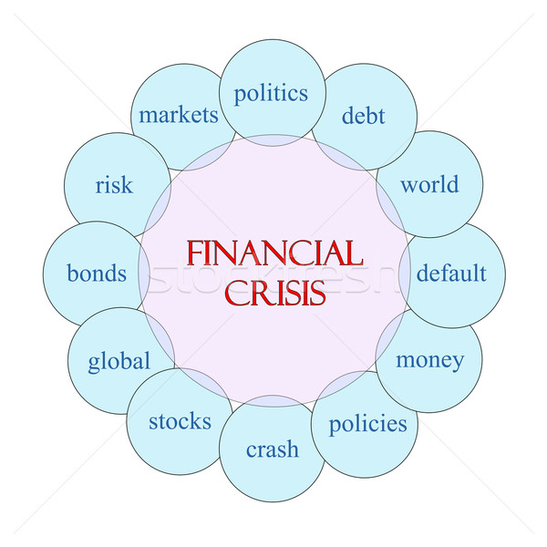 Crise financeira palavra diagrama rosa azul Foto stock © mybaitshop