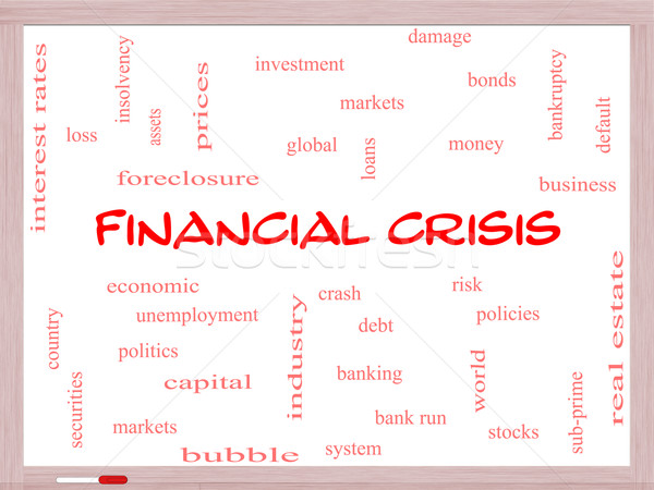 Financial Crisis Word Cloud Concept on a Whiteboard Stock photo © mybaitshop