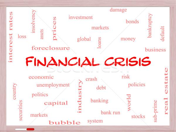 Crisi finanziaria word cloud globale crash Foto d'archivio © mybaitshop