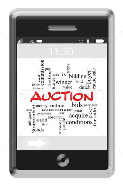 Auction Word Cloud Concept on Touchscreen Phone Stock photo © mybaitshop