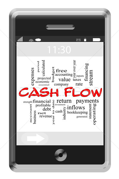 Cash Flow Word Cloud Concept on Touchscreen Phone Stock photo © mybaitshop