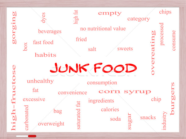 Junk Food Word Cloud Concept on a Whiteboard Stock photo © mybaitshop