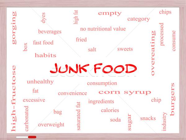 Ungesundes Essen Wort-Wolke groß Chip Snacks Stock foto © mybaitshop