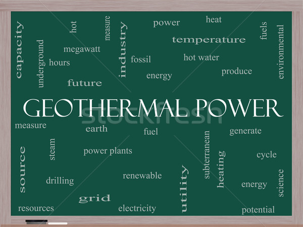 Geothermal Power Word Cloud Concept on a Blackboard Stock photo © mybaitshop
