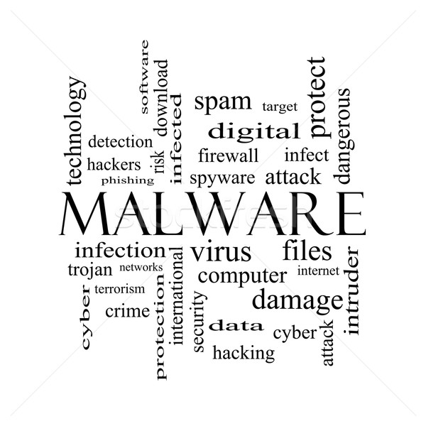 Malware Word Cloud Concept in black and white Stock photo © mybaitshop