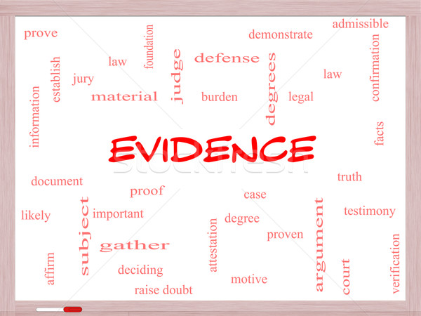 Evidence Word Cloud Concept on a Whiteboard Stock photo © mybaitshop