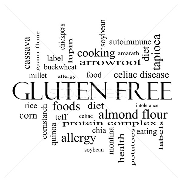 Gluten Free Word Cloud Concept in black and white Stock photo © mybaitshop