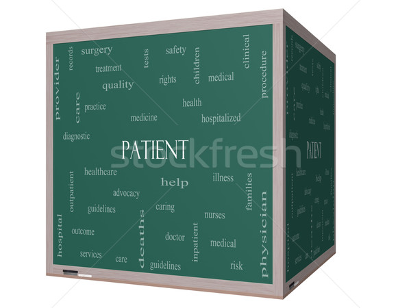 Patient Word Cloud Concept on a 3D cube Blackboard Stock photo © mybaitshop