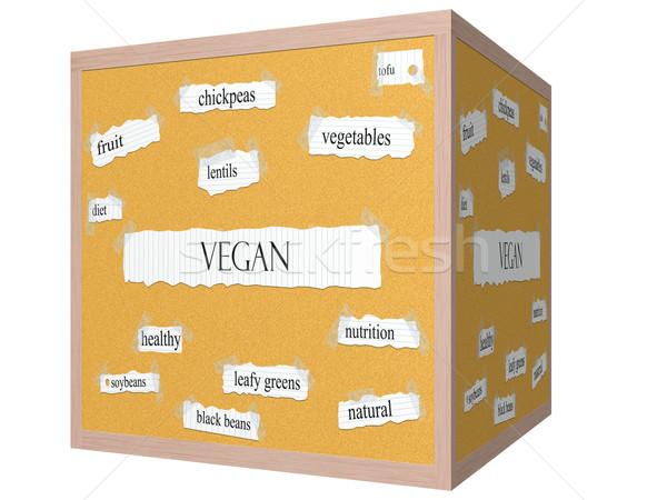 Vegan 3D kocka szó nagyszerű lencse Stock fotó © mybaitshop