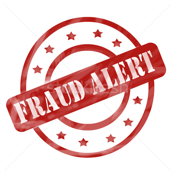 Red Weathered Fraud Alert Stamp Circles and Stars Stock photo © mybaitshop