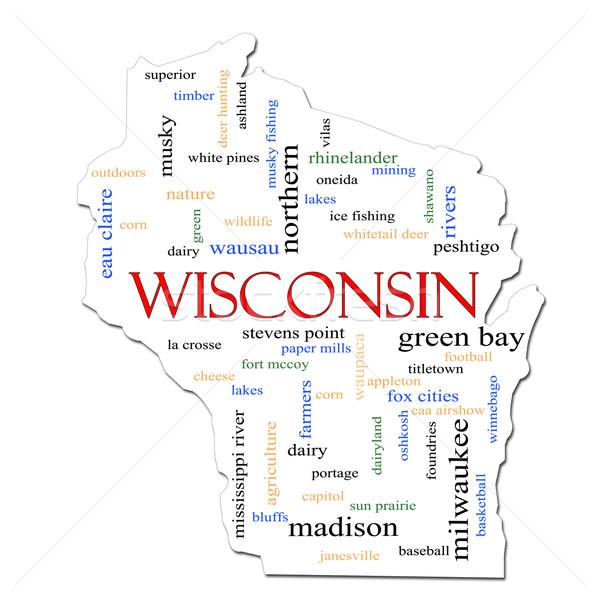 Wisconsin Map Word Cloud Concept Stock photo © mybaitshop