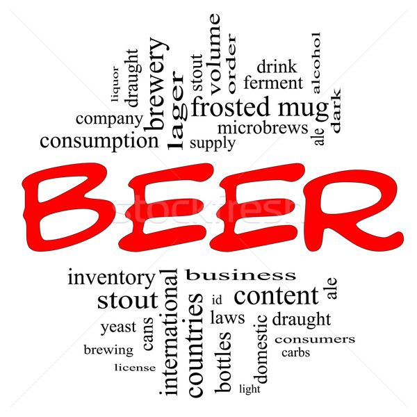 Beer Word Cloud Concept in red and black Stock photo © mybaitshop