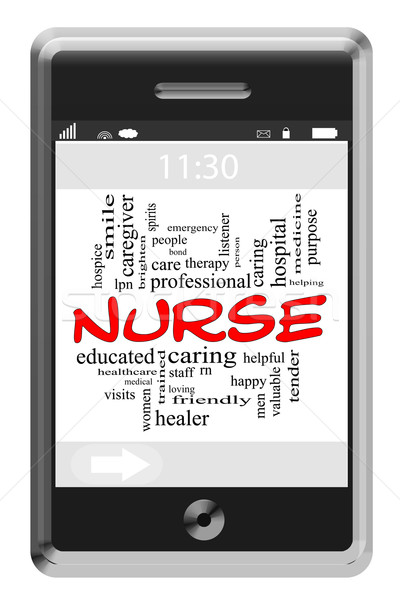 Nurse Word Cloud Concept on Touchscreen Phone Stock photo © mybaitshop