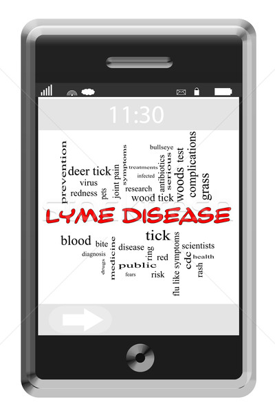 Lyme Disease Word Cloud Concept on Touchscreen Phone Stock photo © mybaitshop