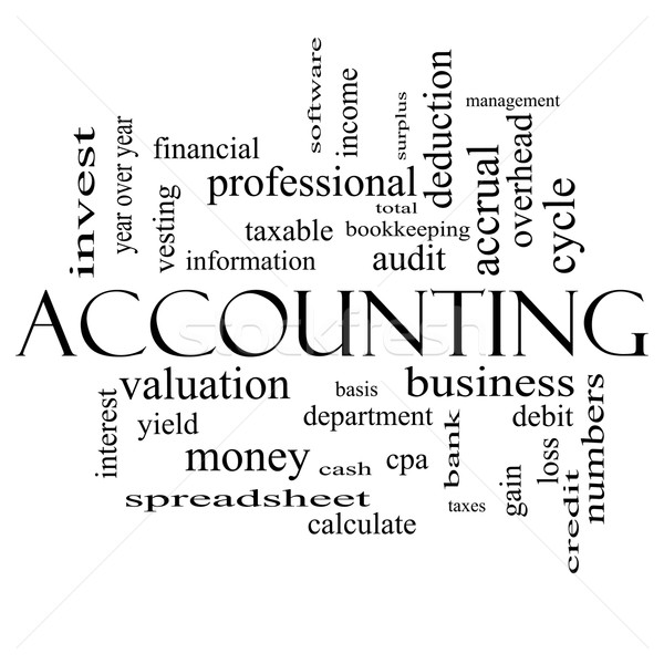 Accounting Word Cloud Concept in black and white Stock photo © mybaitshop