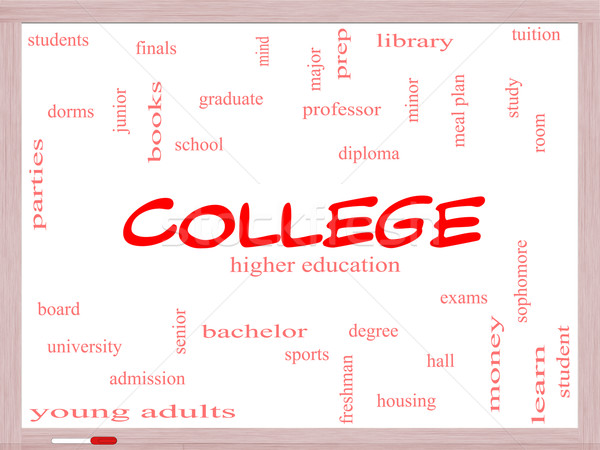 College Word Cloud Concept on a Whiteboard Stock photo © mybaitshop