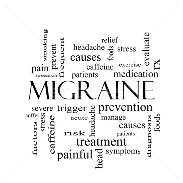 Migraine Word Cloud Concept in black and white Stock photo © mybaitshop