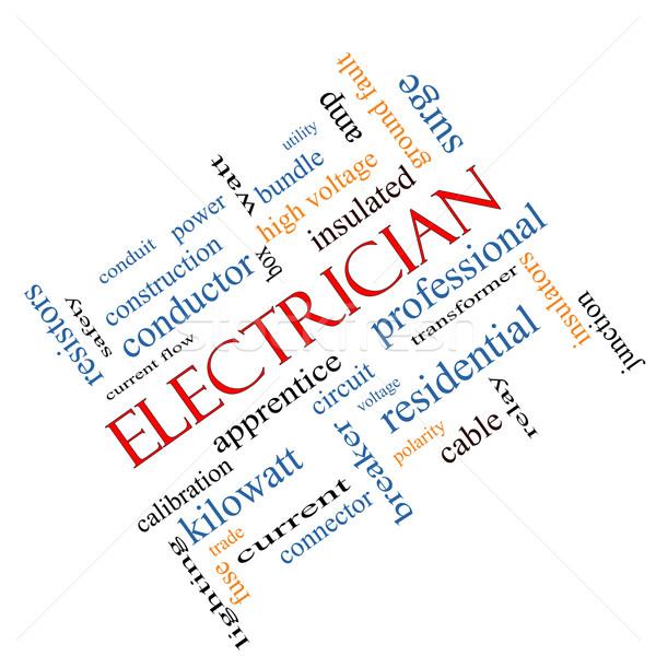 Electrician Word Cloud Concept Angled Stock photo © mybaitshop