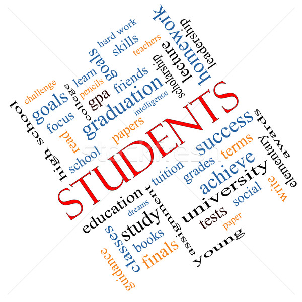 Students Word Cloud Concept Angled Stock photo © mybaitshop