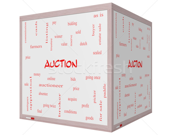 Stock photo: Auction Word Cloud Concept on a 3D cube Whiteboard