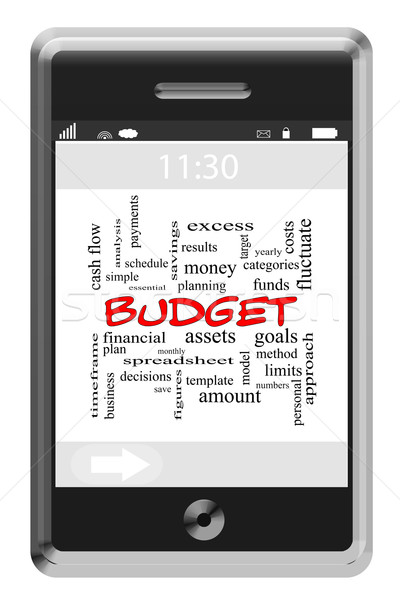 Budget Word Cloud Concept on Touchscreen Phone Stock photo © mybaitshop