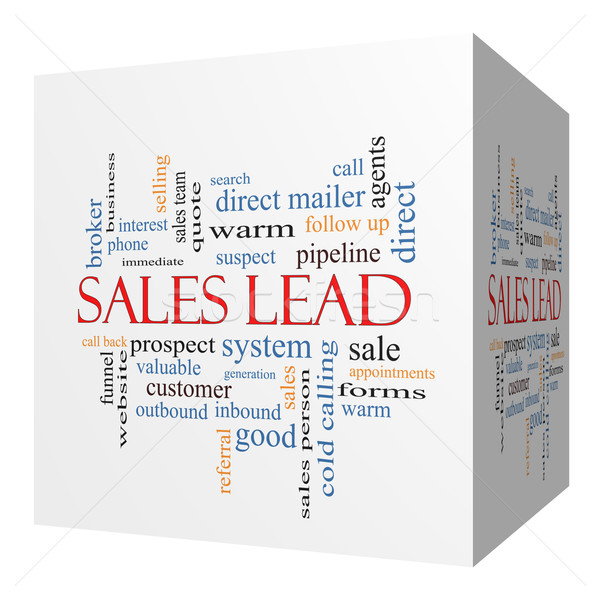 Stock photo: Sales Lead 3D cube Word Cloud Concept