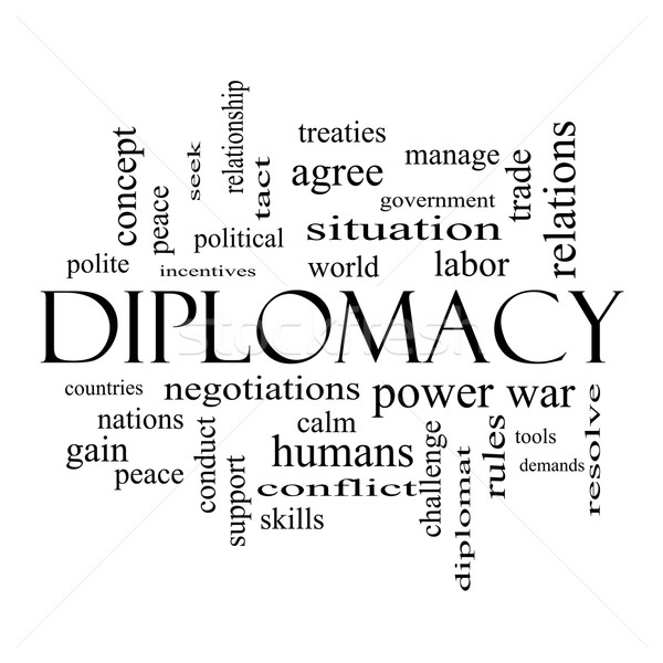 Diplomacy Word Cloud Concept in black and white Stock photo © mybaitshop