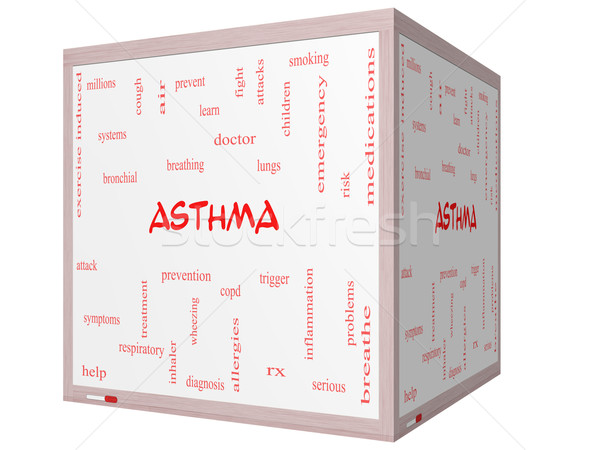 Asthma Word Cloud Concept on a 3D cube Whiteboard Stock photo © mybaitshop
