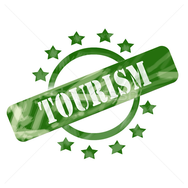 Green Weathered Tourism Stamp Circle and Stars design Stock photo © mybaitshop