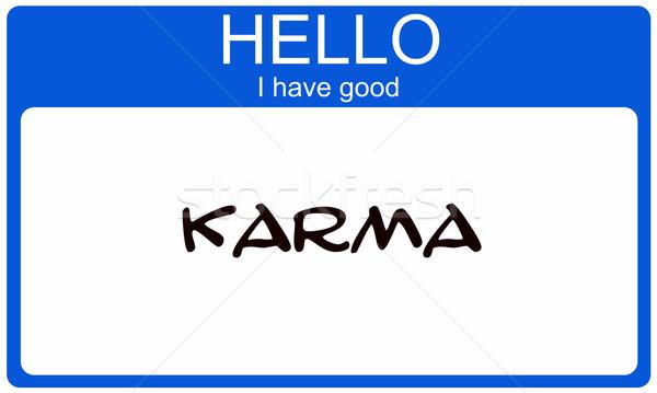 Hello jó karma kék névtábla matrica Stock fotó © mybaitshop