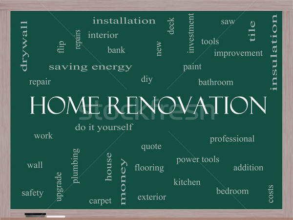 Home Renovation Word Cloud Concept on a Blackboard Stock photo © mybaitshop