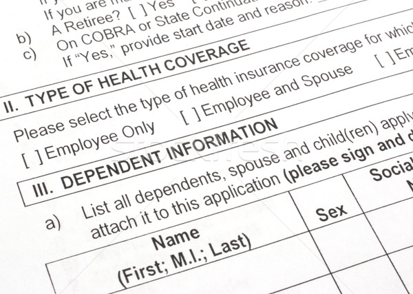 Health Insurance Application Close Up Stock photo © mybaitshop