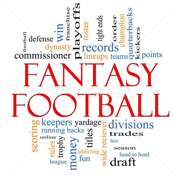 Fantasia futebol nuvem da palavra corrida de volta Foto stock © mybaitshop