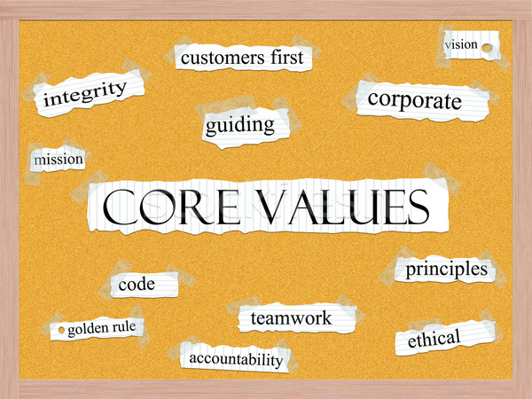 Core Values Corkboard Word Concept Stock photo © mybaitshop