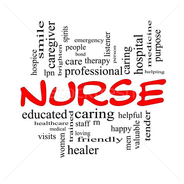 Nurse Word Cloud Concept in Red Caps Stock photo © mybaitshop