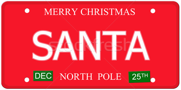 Santa North Pole License Plate Stock photo © mybaitshop