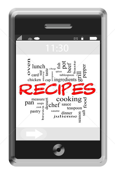 Recipes Word Cloud Concept on Touchscreen Phone Stock photo © mybaitshop