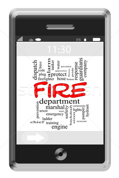 Fire Department Word Cloud Concept on Touchscreen Phone Stock photo © mybaitshop